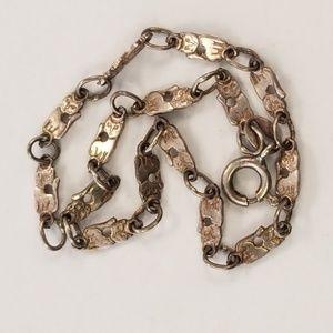 Vintage Silver Cat Link Bracelet